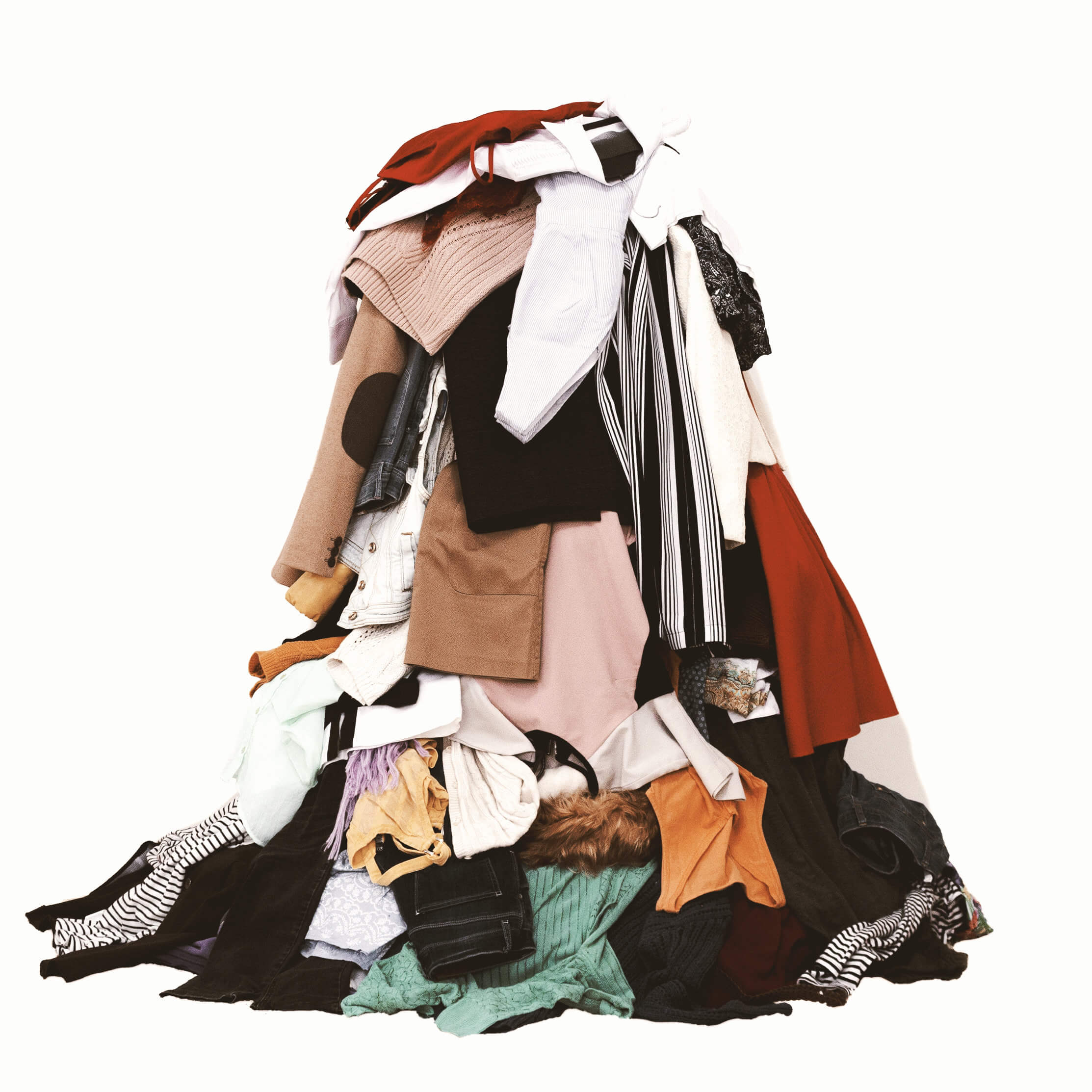 KonMari Tidying. A Large Pile Of Colourful Clothes To Demonstrate How You Begin Each KonMari Category