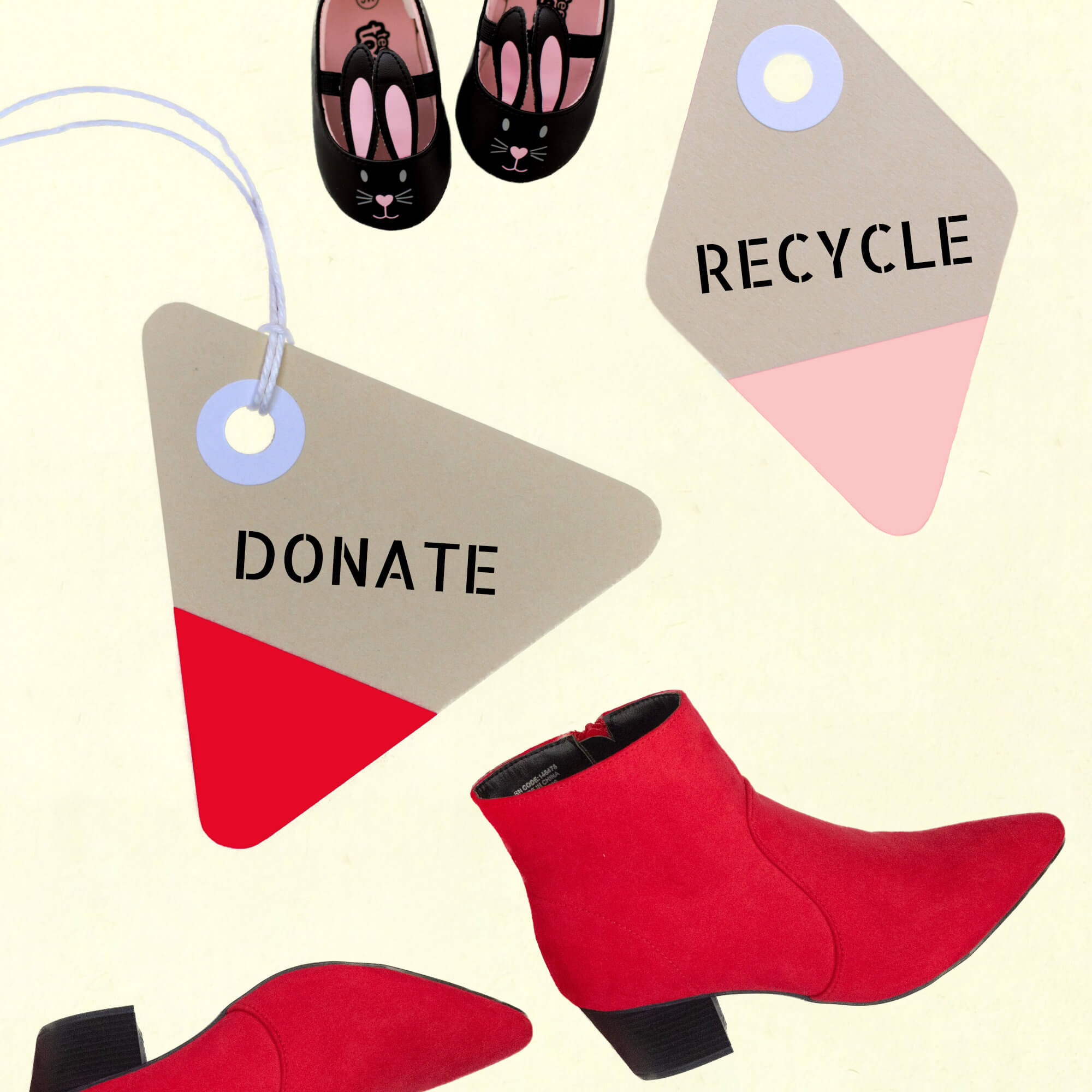 KonMari Method of Tidying. Responsible Discarding Represented By 'Donate', 'Recycle' Labels With Red Boots & Bunny Slippers