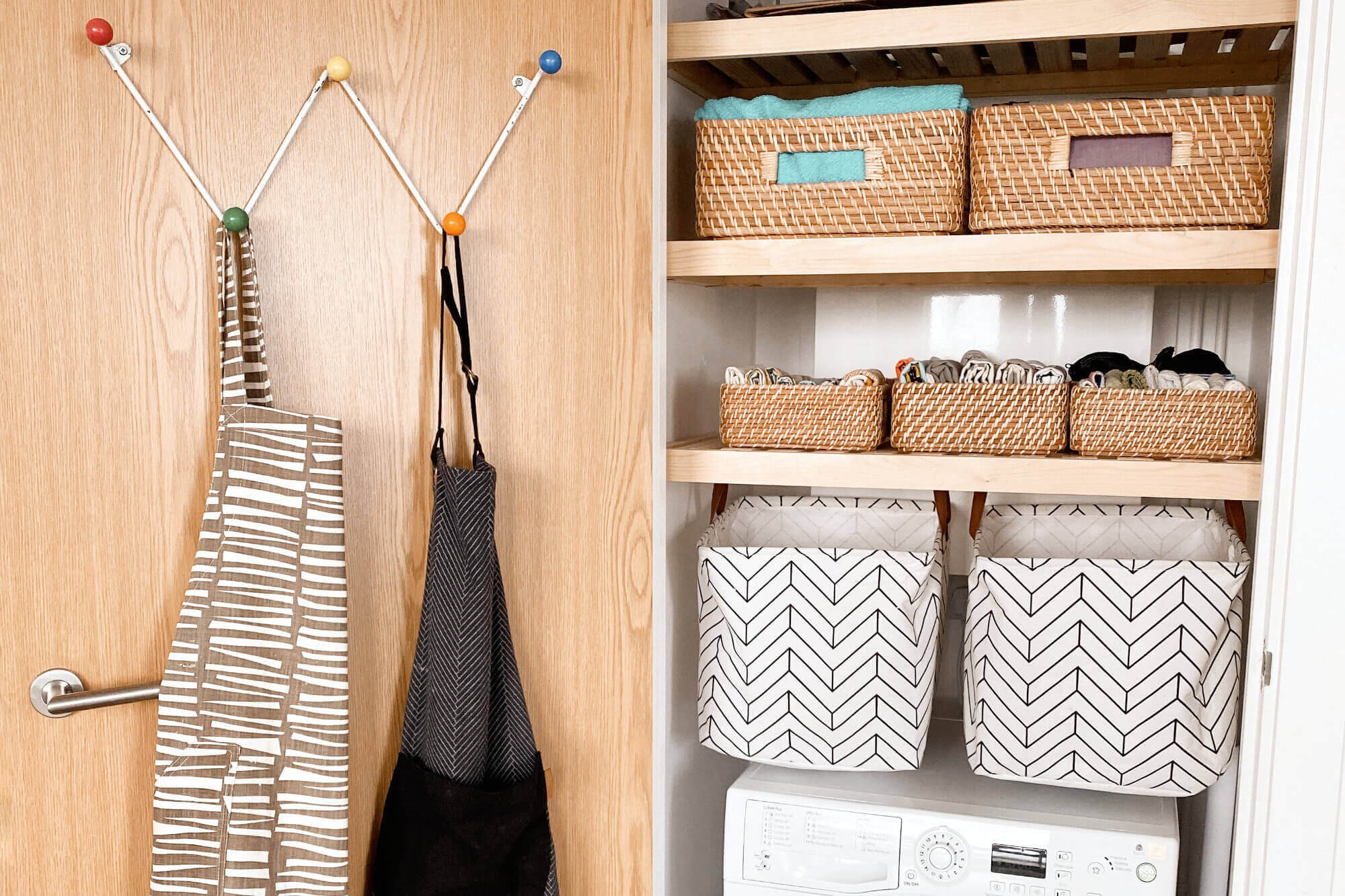A Closet That Sparks Joy With Tea Towels Neatly Folded Using The KonMari Method Of Tidying