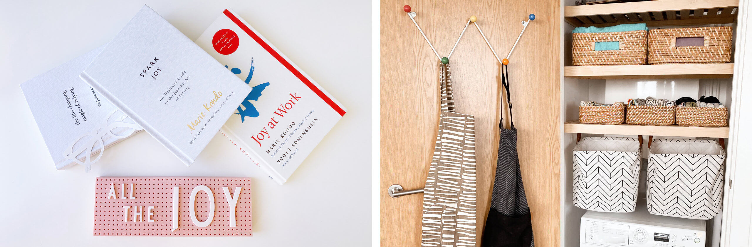 Marie Kondo's Bestselling Books About How To Change Your Life Through Tidying And A Closet Full Of KonMari Folded Tea Towels