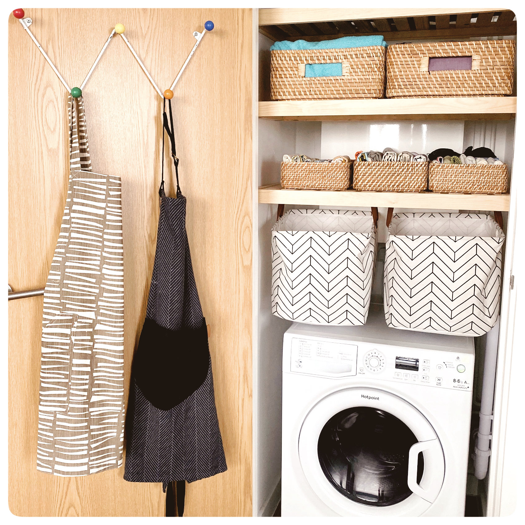 This Is A KonMari'd Closet That Sparks All The Joy. Neatly Folded Tea Towels In Bamboo Baskets, Fabric Baskets & Jazzy Aprons