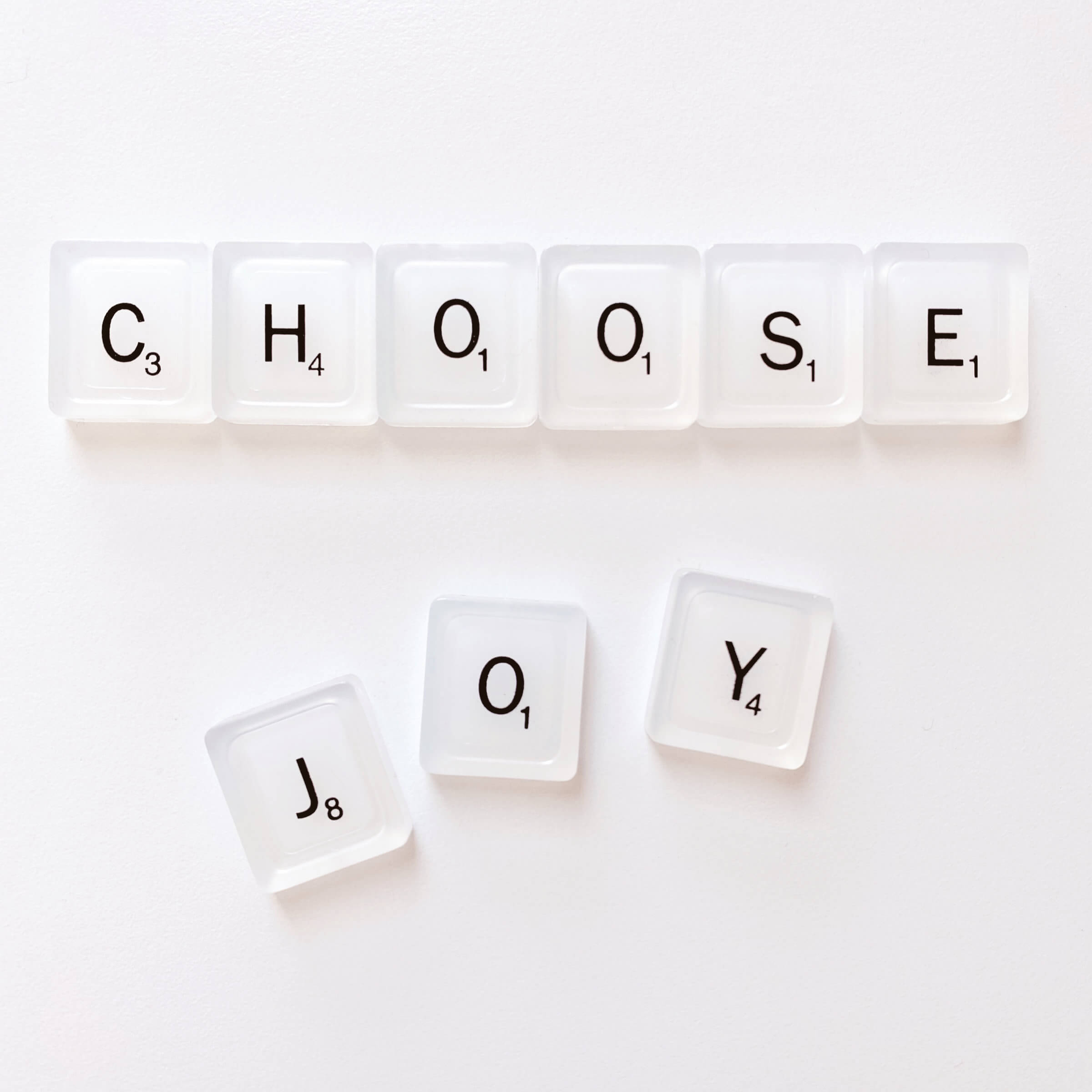 KonMari Is About Progressing From Least To Most Difficult. Just Remember To 'Choose Joy', Like These Scrabble Letters Suggest
