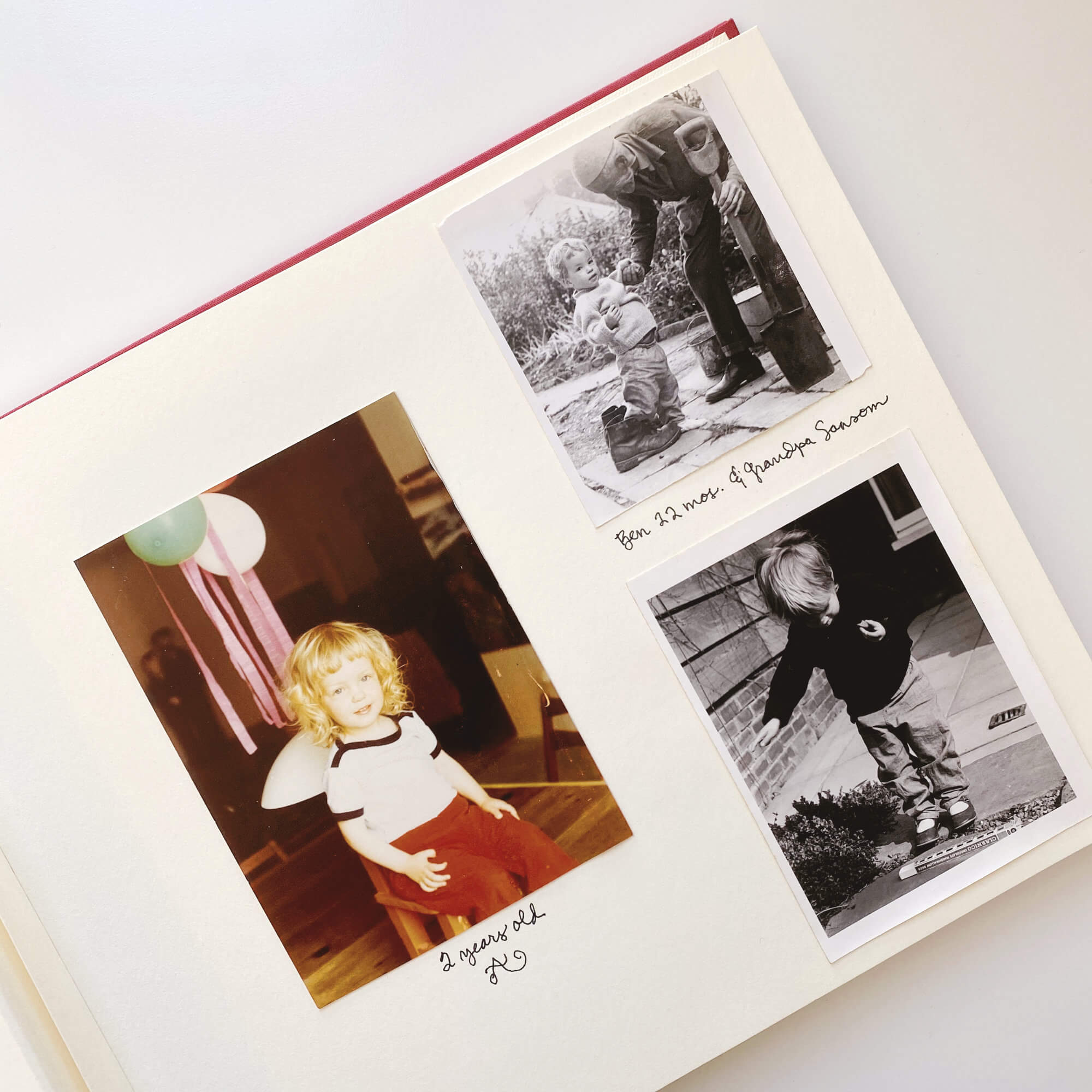 KonMari Tidying – Category Five: Sentimental Items. Lovely Photo Album With Childhood Photos Of Girl & Boy