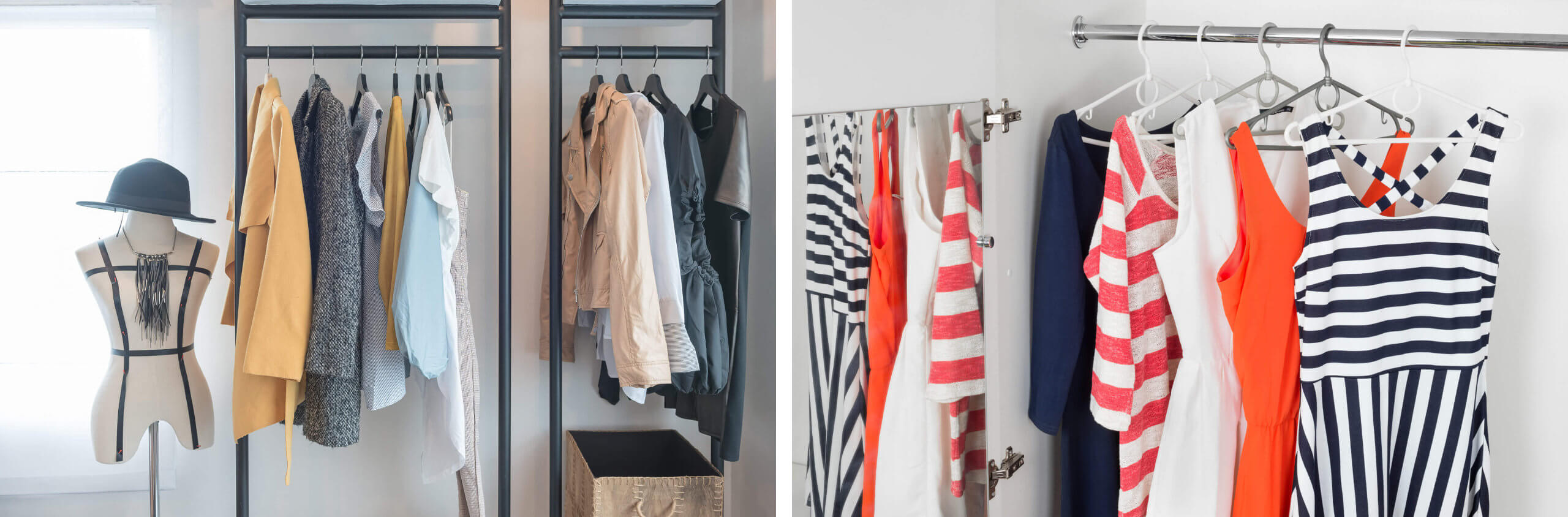 High-Quality Colourful And Tonal Women's Clothing Hanging On Rails In A Shop