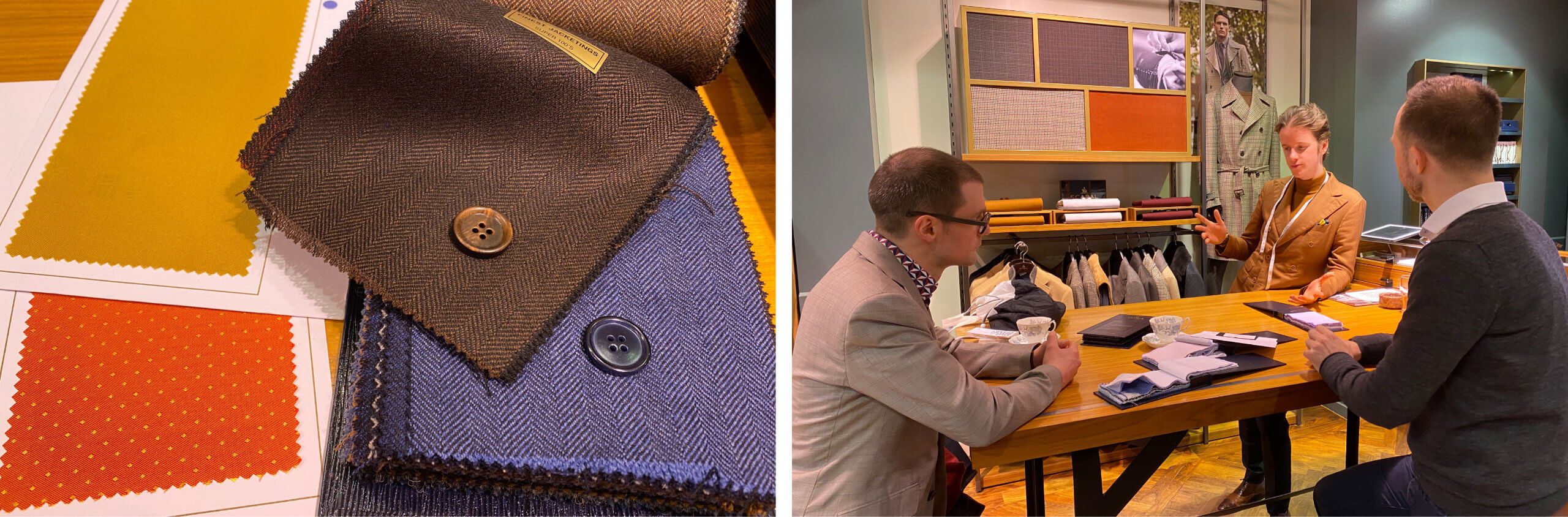 Two Men Looking Through Luxurious Fabrics At Savile Row's Scabal With Tailor Tommy Raban