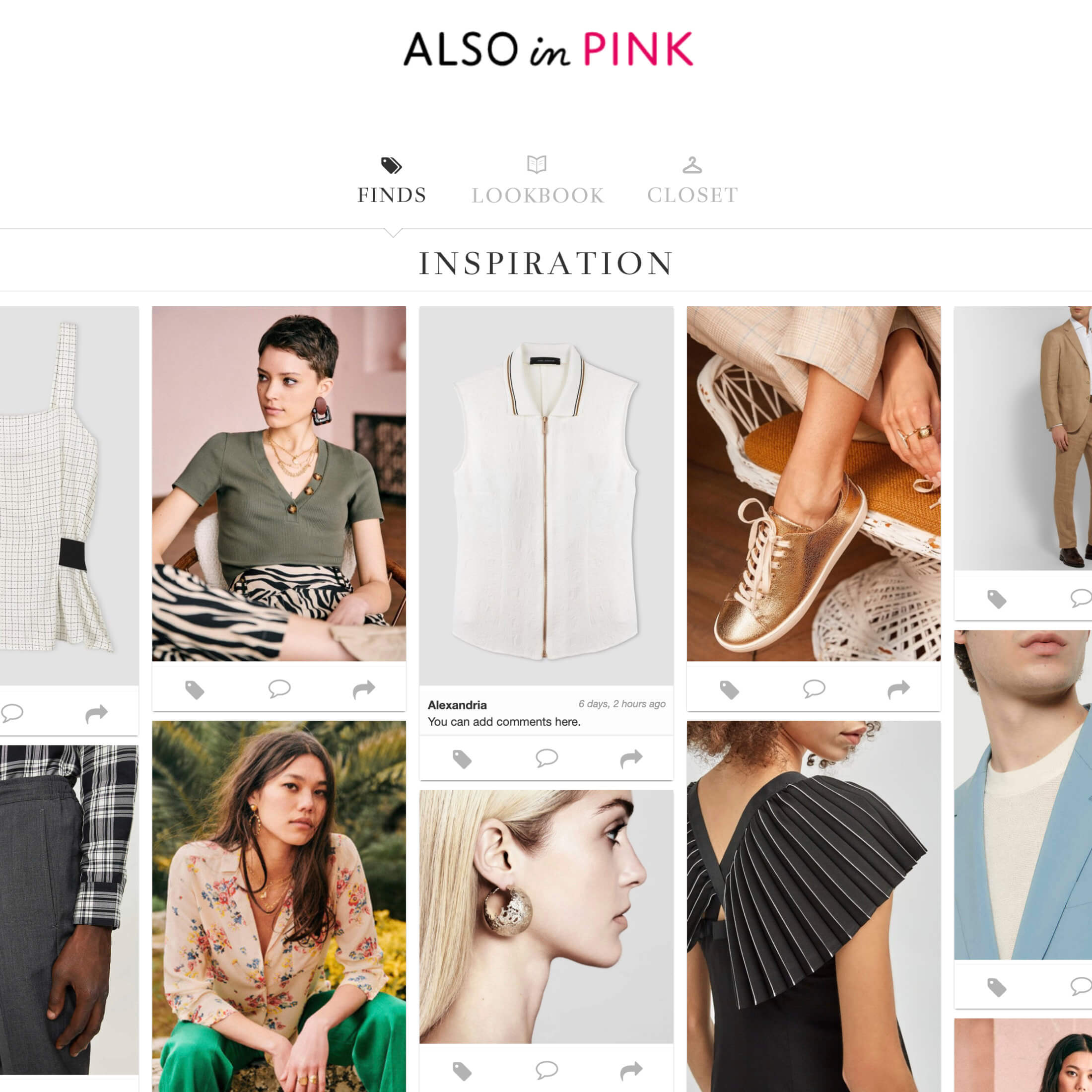 Clothing To Demonstrate The Key Features Of ALSO in PINK's Virtual Wardrobe Personal Styling Subscription Service