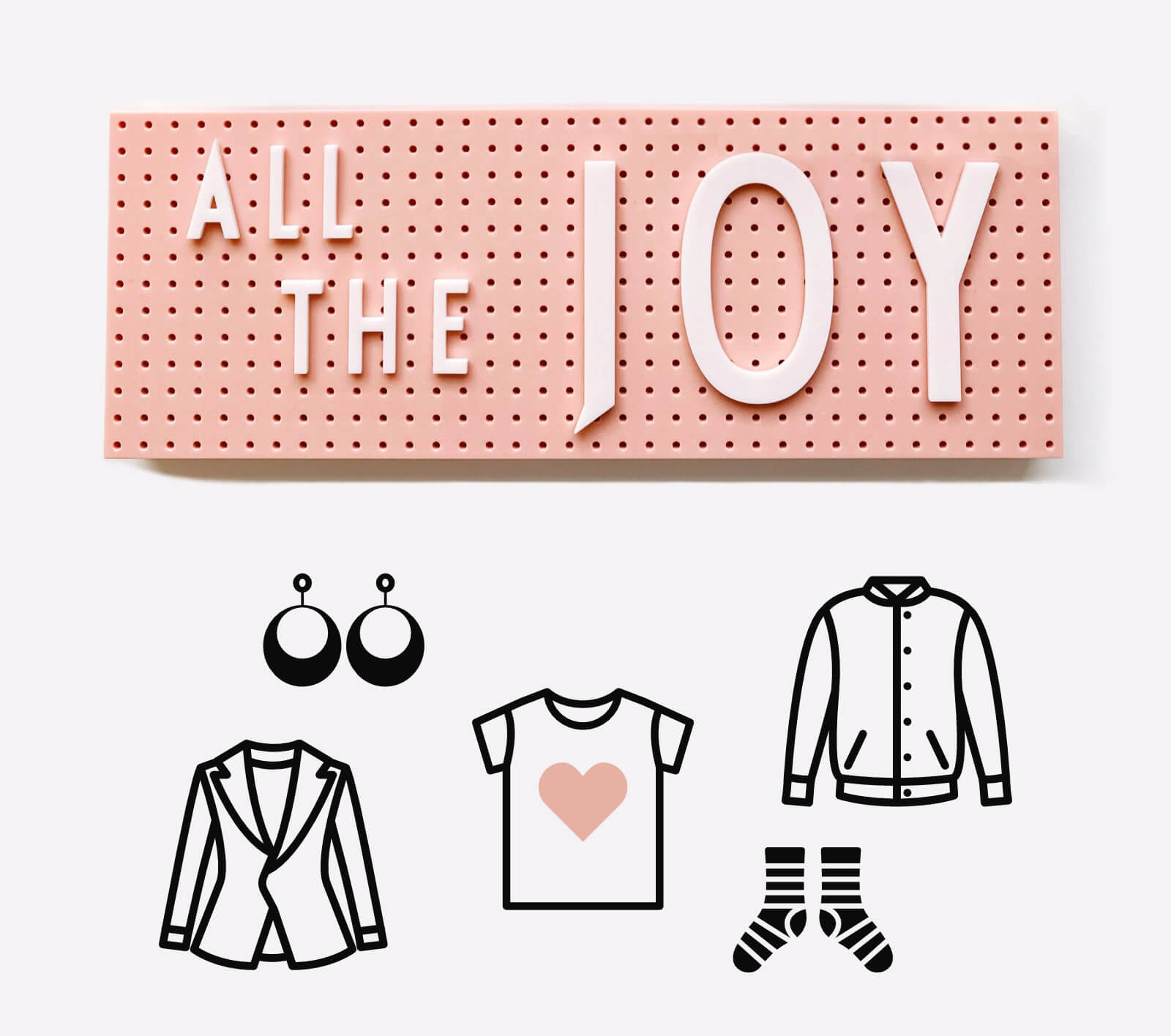 KonMari Method Of Tidying. All The Joy Letter Board Display With Fun Clothing Icons Floating Below It
