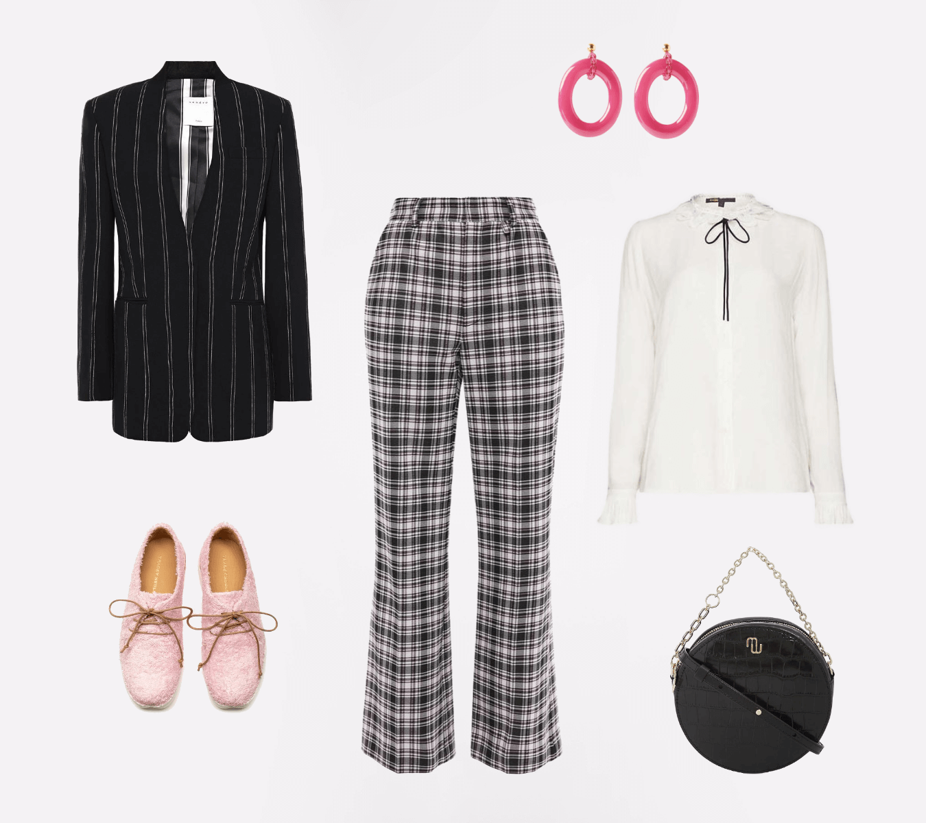 Capsule Wardrobe Personal Styling Session. Clothing Flat Lay Of Classic Style Personality - Monochrome With A Splash Of Pink