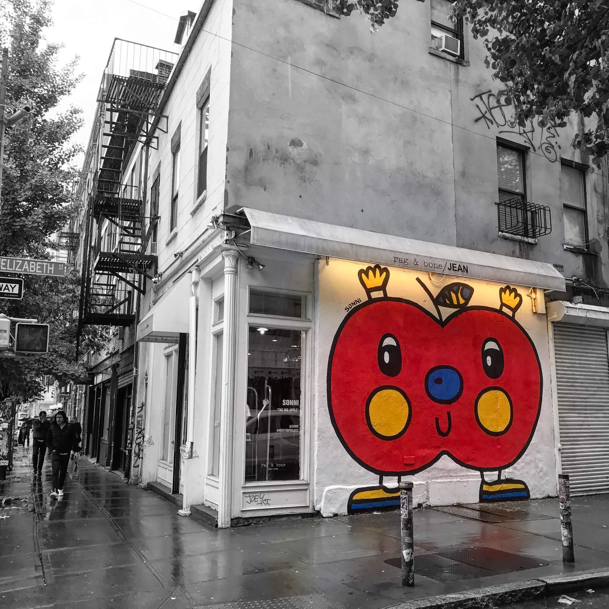 Monochrome with Jolly Red Apple Colour Pop - Street Art Photography by Sarah Sansom