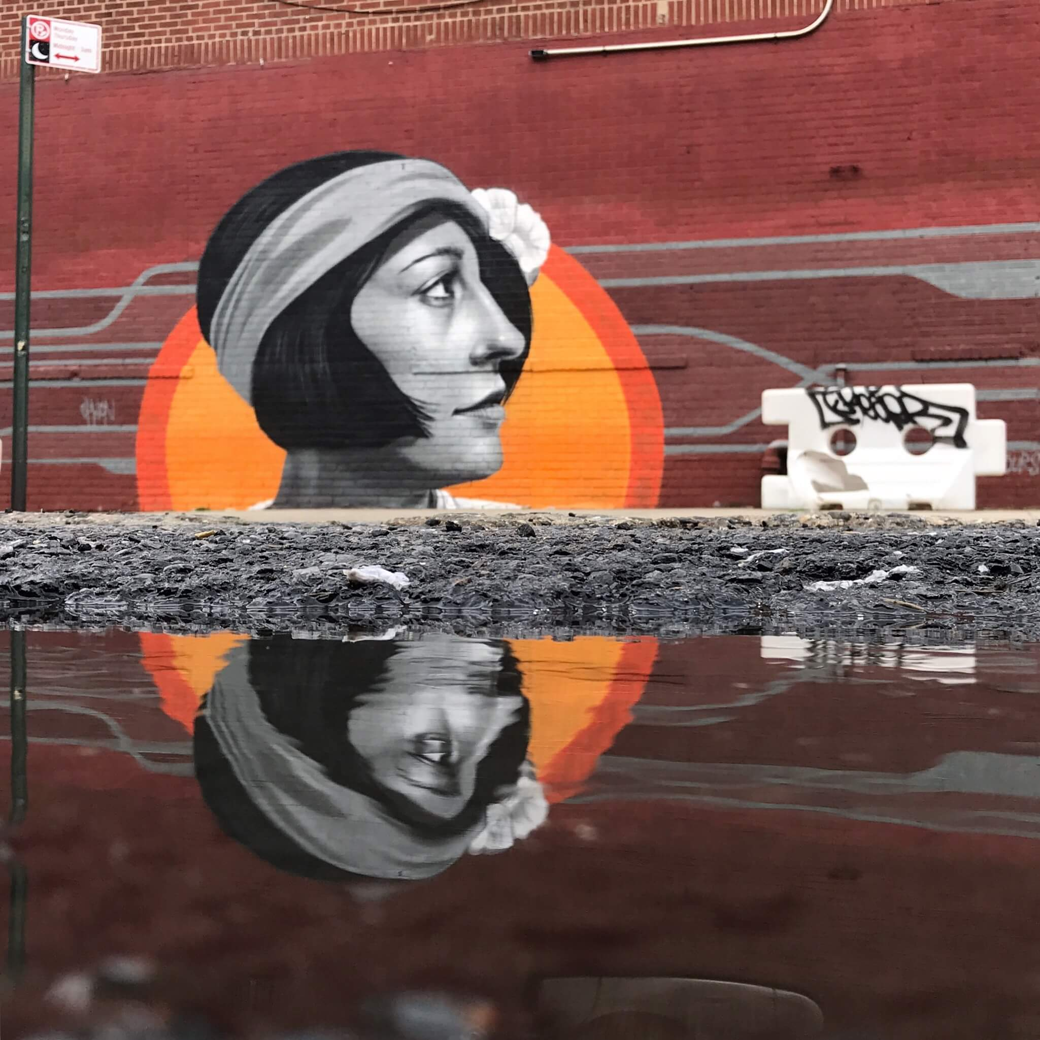 Flapper Style Woman with Sun Street Art Photography by Sarah Sansom