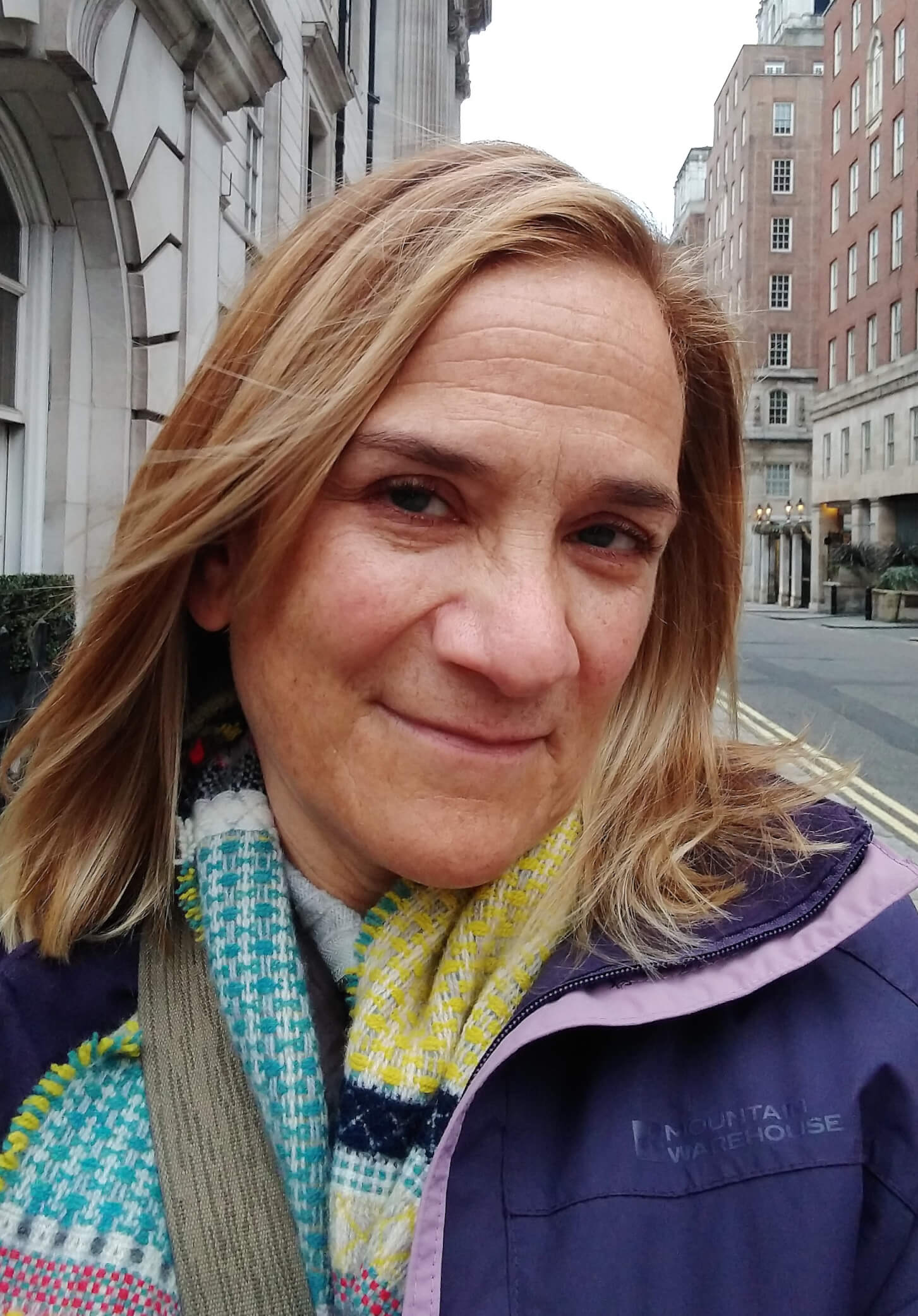 Tracy Chevalier Wearing A Colourful Wallace & Sewell Scarf