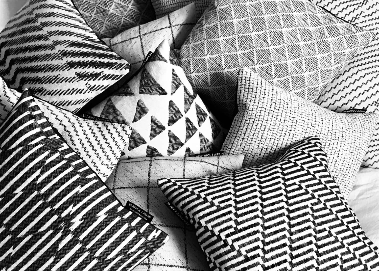 Beatrice Larkin Assortment of Monochrome Cushions in Bold Geometric Patterns
