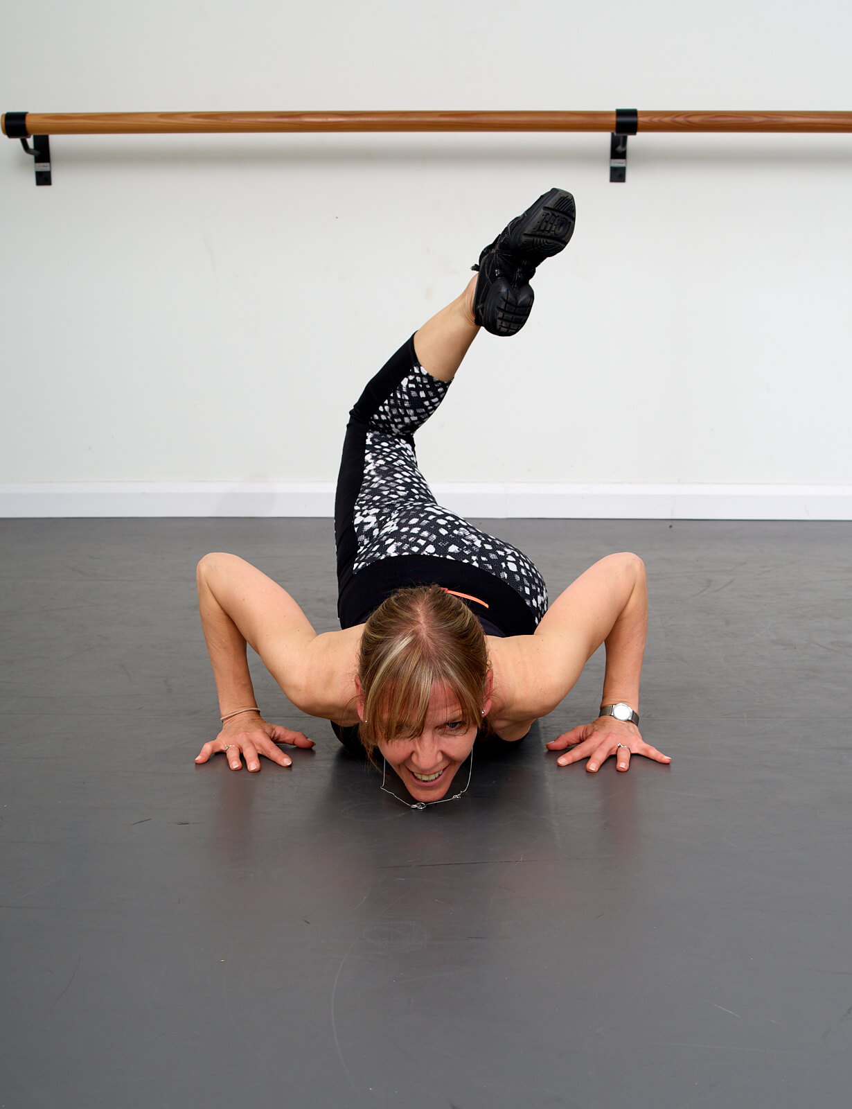 Heather Craig doing a floor stretch