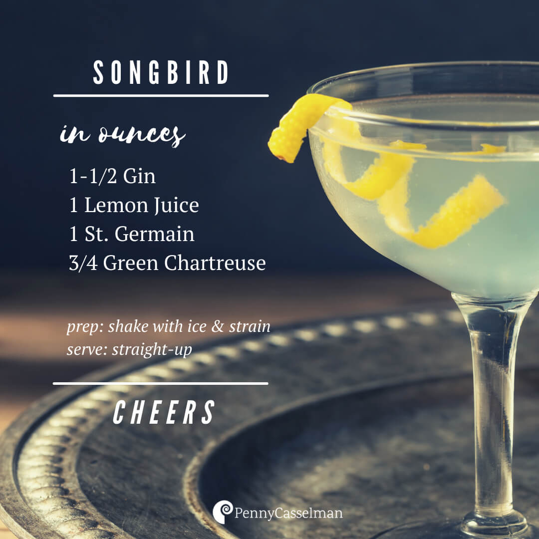 Cocktail recipe for a Songbird - with gin, lemon juice, St Germain and Green Chartreuse