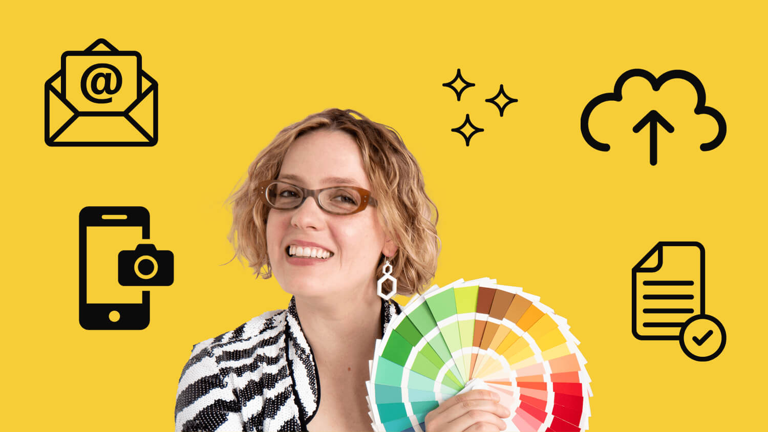 Alexandria smiling, holding a colour fan. She's surrounded by fun digital organisation icons.
