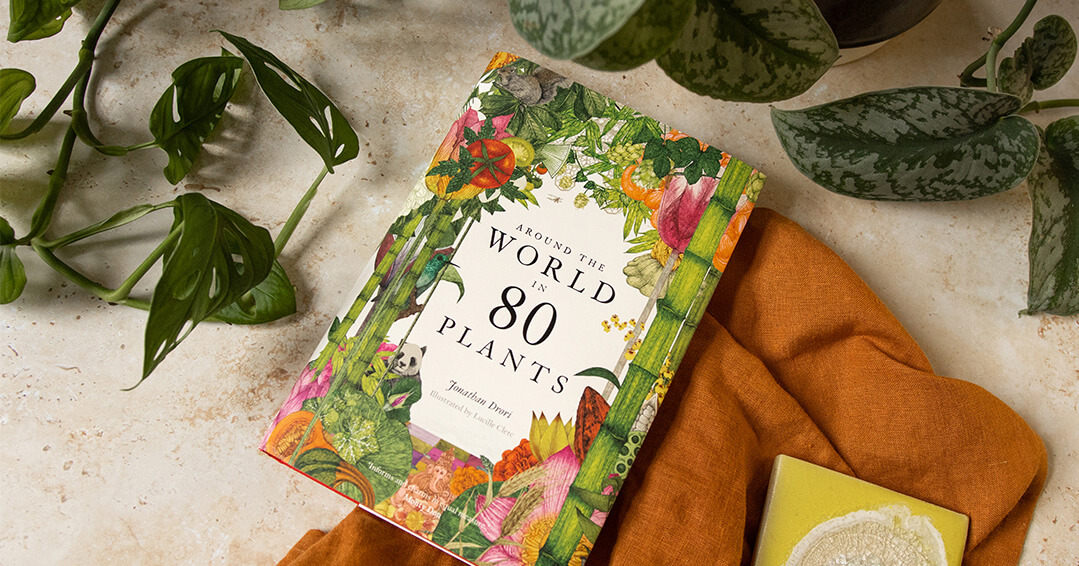 Lifestyle shot of Around the World in 80 Plants - shown with fabric and plants