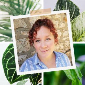 Musician Charlotte Fairbairn surrounded by houseplants